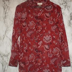 Red Paisley LOFT Top Semi-Sheer Long Sleeve XSmall